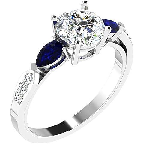Sparkles 1.56ct diamanti e 0,6ct Blu Zaffiro Anello in oro bianco 18kt (GH, colore si Clarity)