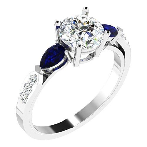 Fullcutdiamond   925  argento Rotonda   IJ Diamante Zaffiro blu