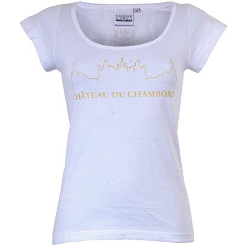 CHAMBORD Damen T-Shirt Tee Château de, Weiß Blanc, M Chambord Tee
