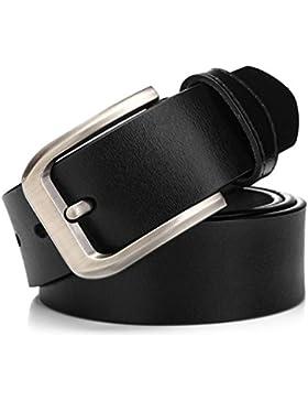 KeeCow Cinturón de Cuero Hombre,Correa de Hebilla de Pin de Aleación Para Jeans,Trajes, Ropa Informal y Formal...