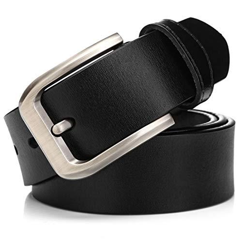 """KeeCow Cinturón de Cuero Hombre,Correa de Hebilla de Pin de Aleación Para Jeans,Trajes, Ropa Informal y Formal,Café/Negro,Se Ajusta a Una Cintura De 48 Pulgadas (125cm( 40""""- 48""""), tipo 3 negro)"""