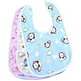 MOM & SON Waterproof Newborn Baby Bibs In Cotton With Plastic Back And Knot/String Closure/Baby Apron For 0-6 Months - Set Of 3 Pieces (Print May Vary)