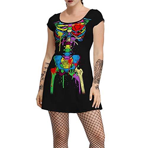Halloween Kostüm Damen Skelett Drucken Kleider Kurz Sexy A-Linie Einteiler Rundhals Kurzarm Freizeitkleider Mottoparty Party Karneval Verkleiden (M, Mehrfarbig) (Krähe Kostüm Für Hunde)