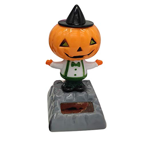 (Kentop Halloween Solar Wackel Figur Hexe Kürbis Geist Solarbetriebene Tanz Swinging Spielzeug für Auto Desktop Zuhause Büro Halloween Dekoration (Kürbis))