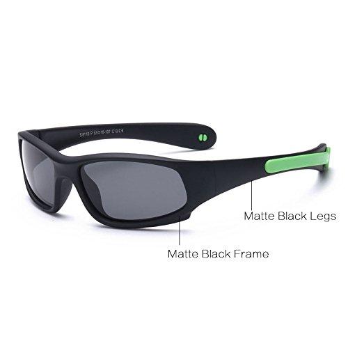 Pynxn Kinder Sonnenbrille Jungen M?dchen polarisierte Sonnenbrillen Gummi Flexible Kinderbrillen Schutzbrillen Ungef?hr 1-5 Y [Mattschwarz C13]