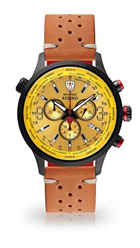 DETOMASO AURINO Montre pour Hommes Chronographe Chronographe Analogique Quartz Marron Racing Bracelet Cuir Vintage Cadran Jaune DT1061-L-844