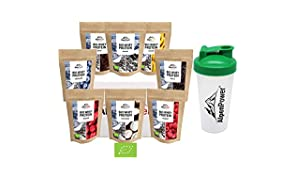 ALPENPOWER | BIO WHEY Protein Probierbox 8 Sorten (8 x 65 g) + Shaker | Ohne Zusatzstoffe | 100% natürliche Zutaten | Bio-Milch aus Bayern und Österreich