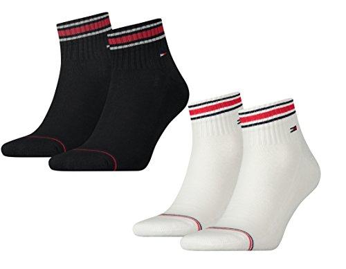 TOMMY HILFIGER Herren Sport Quarters Socken Sportsocken MIT FROTTEESOHLE 4er Pack (2er schwarz/2er weiß, 39-42)