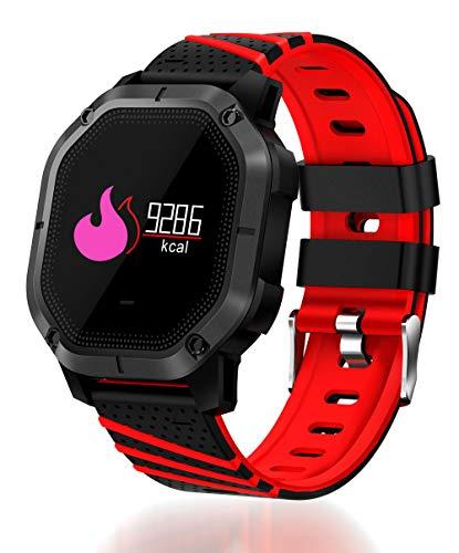 Ears Herren Damen Smartwatch 2018 Q18 Bluetooth Smart Uhr GSM Kamera Tf Karte Telefon Armbanduhr für Android Smartwatch mit praktischen Funktionen Für Android & iOS (Rot)