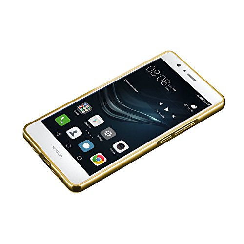 Minto Luxus Aluminium Metall Spiegelhülle Schutzhülle + Panzerglasfolie iPhone 5 / 5S / SE Spiegel PC Rückseite Case Cover Hülle Gold + Metall Bumper Rahmen Echtglas Hartglas Schutzfolie 9H Gold -p9 lite