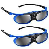 BOBLOV 3D Brille Aktive Shutter Glasses DLP-Link USB Für BenQ W1070 W700 Dell Projektor (Blau 2Pack)