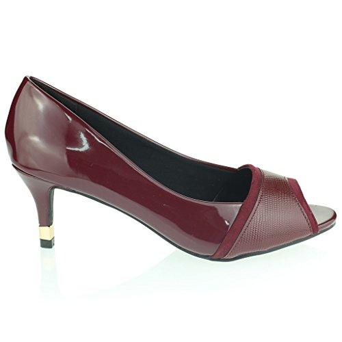 Femmes Dames Travail Intelligement Formel Peeptoe Géminin Mince Talon Moyen Soir Casual Fête Des Sandales Chaussures Taille Marron