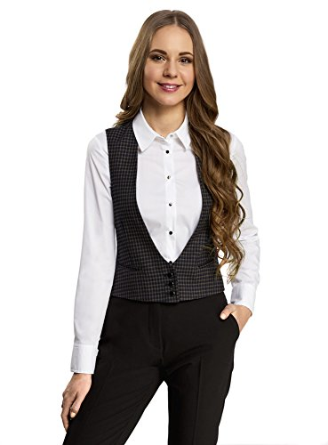 oodji Ultra Mujer Chaleco Cl/ásico con Bolsillos Decorativos