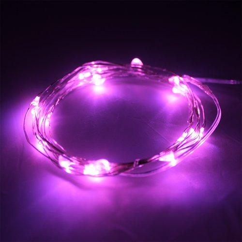 LED Lichterkette für Außen Pink 1m 10Leds batteriebetrieben