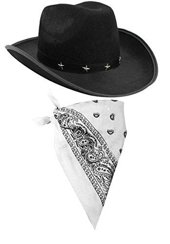 ILOVEFANCYDRESS Cowboy Zubehör-Set mit schwarzem Cowboyhut mit Stern-Nieten und Band und farbiges Bandana / Tuch mit Paisley-Muster