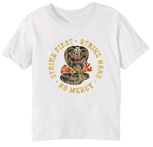 41mj5g1irqL - Camiseta unisex infantil blanca Strike First - Strike Hard - No Mercy