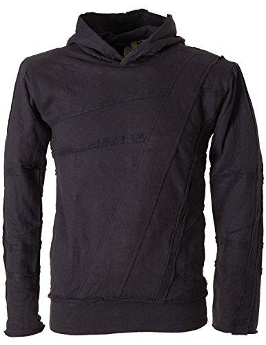 Vishes – Alternative Bekleidung – Herren Hoodie Kapuzenpullover mit Patchwork Applikationen schwarz M