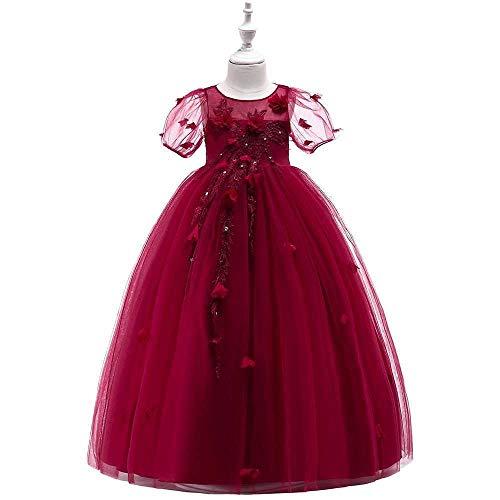 Bademode Mädchen Schulterfrei Bowknot Princess Dress Satin Blumenmädchen Hochzeit Kostüm Klavier Performance Kleidung Bikinis (Color : Red Wine, Size : 12-13Years) (Red Xiii Kostüm)