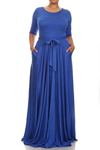 Swallowuk Frauen Elegant Große Kleid Langärmliges Cocktailkleid Maxikleid mit Gürtel (XXL, Blau) (Kleider Frauen Für Blau Groß)