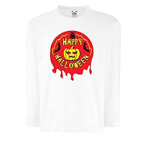Funny t shirts for kids Long sleeve Happy Halloween (7-8 years White Multi Color)