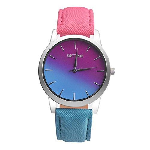 LSAltd 2018 Damen Mädchen Retro Regenbogen Uhr Lederband analoge Legierungs Quarz Armbanduhr (C)