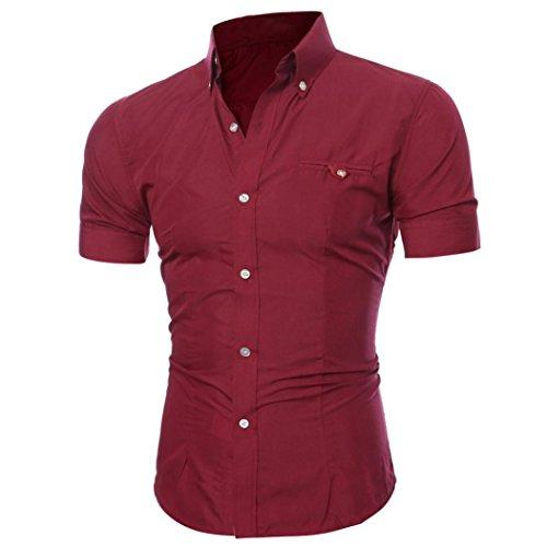 Btruely Hemden Herren Sommer Männer Shirt O-Neck Drucken Top Slim Fit Geschäft Bluse Junge Kurzarm Shirt (XXXL, Rot) (Sommer Kurz Jungen)