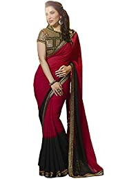 Sarees (Women's Clothing Saree For Women Latest Design Wear Sarees New Collection In Red Black Coloured Pure Georgette...