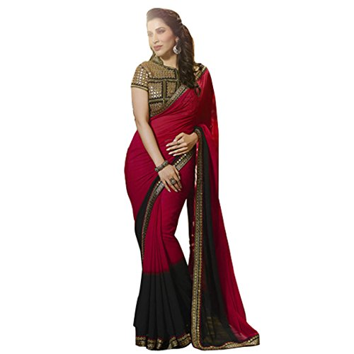 Vedant Georgette Saree (Am_Red_Red)