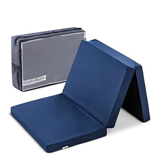 Hauck Sleeper Reisebett-/Schaumstoff Matratze, 60 x 120 cm, 6 cm hoch, 3 teilig zusammenklappbar, faltbar, waschbar, inkl. Transporttasche, navy blau