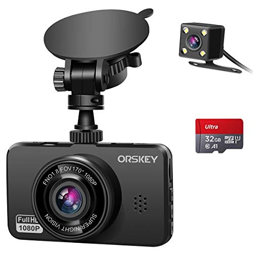 ORSKEY Dash Cam for Cars Front and Rear and SD Card Included 1080P Full HD In Car Camera Dual Lens Dashcam for Cars 170 Wide Angle Sony Sensor with Loop Recording and G-sensor Logo