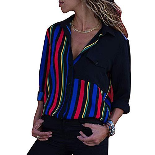 Overdose Blusa para Mujer OtoñO Primavera Mejor Venta De Moda Casual De Manga Larga Color Block Stripe Button Camisetas Tops