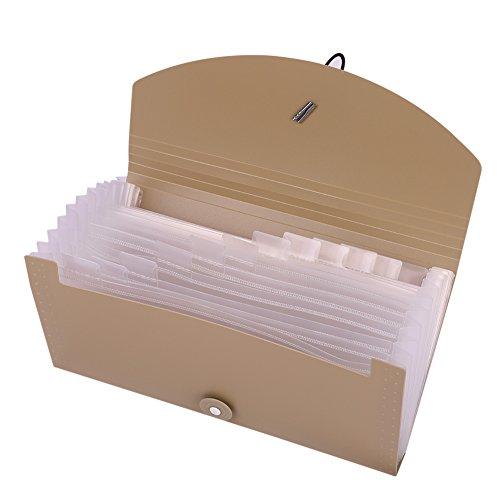 Sotiermappe Fächermappe Ordnungsmappe Ringbuch Ordner Register mit 12 Fächern Dokumente Datein Organizer Sammler für Zettel Papiere Gutscheine Karten Briefe zu Speichern und Sortieren Khaki