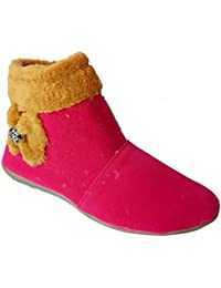 Asteria Women's Casual Shoe Long Boots Ethnic Footwear (IND-259-DARK PINK BOOT)