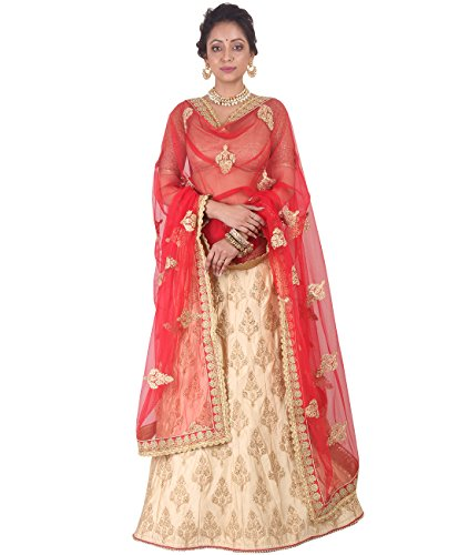 Indian Ethnicwear Bollywood Pakistani Wedding Creram A-Line Lehenga Semi-stitched