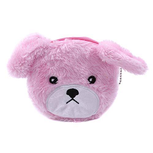 LJSLYJ Plüsch Hunde Münze Geldbeutel Schlüsselanhänger Reißverschluss Geldbörsen, pink - Pink-münzen-geldbeutel-schlüsselanhänger