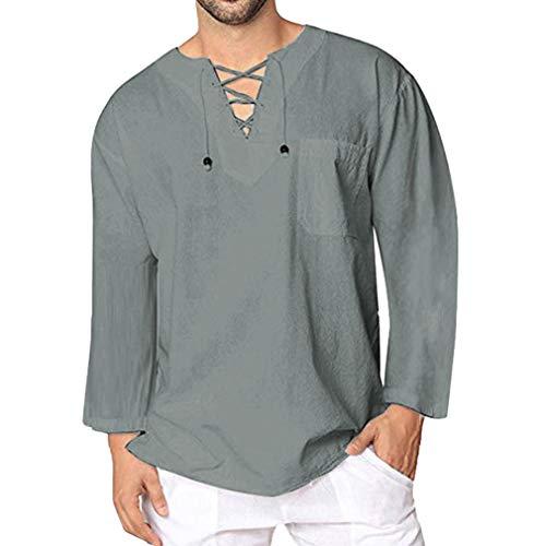 a4a8717a5eb91 Hibote Leinenhemd für Männer Leinenhemd Langarm Freizeithemd Einfarbig  Kragenlose Top Lose Bluse Business Shirt Weiche Bequeme Atmungs