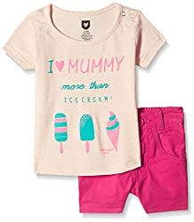612 League Baby Girls Clothing Set (ILS17I75011-3 - 6 Months-Pink)