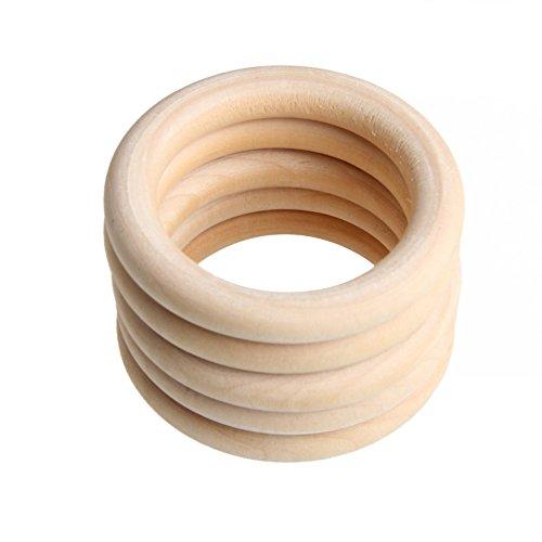 Yunso 5 stücke 70mm Natürliche Holzringe - Beißring aus Holz, Hölzerne Ringe für das Handwerk Basteln DIY - Durchmesser Übergangs-anhänger