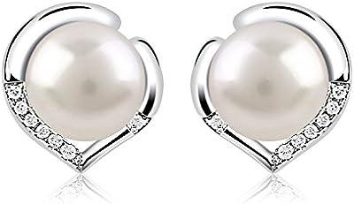 B.Catcher Pendientes corazón Plata de ley 925 básicos con perlas Set de agua dulce de, Pendientes de las señoras con la caja