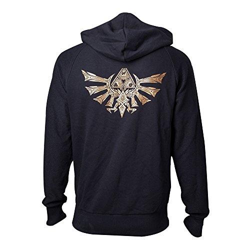 The Legend of Zelda Golden Triforce Sweat à capuche zippé noir Noir