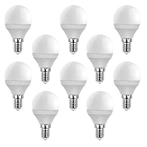 V-tAC lot de 10 ampoule lED e14 en forme de goutte-blanc chaud 2700 k angle d'éclairage 180°, Blanc chaud, E14, 4.00 wattsW, 230.00 voltsV