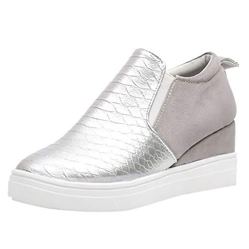 Casual Bootie (Smonke Beiläufige Damen Mode Retro Freizeitschuhe Booties Casual Zipper Schuhe runden Kopf Größe Krokoprägung Schuhe Sportschuhe Teenager Atmungsaktive Für Outdoor)