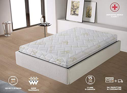 Miasuite materasso premium una piazza e mezza, con 6 cm di memory foam, in aloe vera sfoderabile, 120 x 190 x 25 cm