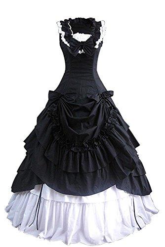 Joycorner-Lolita-Vestido-Negro-Blanco-Sin-Manga-con-lazo-Algodn-estilo-retro-Gtico-404