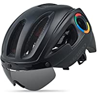 Exclusky Cycling Road Bike Helmet with Removable Goggles Visor Shield - Adjustable M Size (54-58cm)