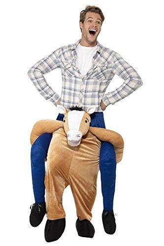 Smiffys Herren Huckepack Pferd Kostüm, Einteiler mit Beinen, One Size, Braun, 24662