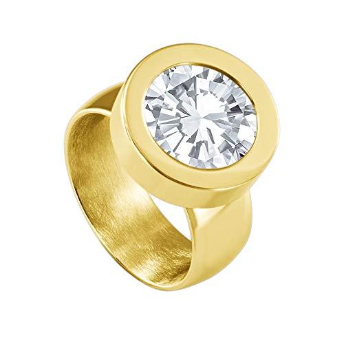 Quiges Wechselring Gold Ring Edelstahl 12mm Mini Coin Halter und Zirkonia Coin Transparent in Größe 20mm -