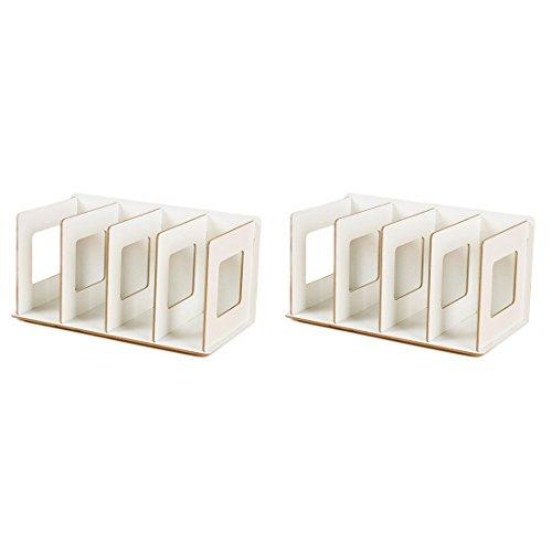 Preisvergleich Produktbild CD Ständer,  Lommer 2 Stück DIY DVD Ständer Kreativ Tischplatte CD / DVD Regal Holz Buchständer Bücherregal (Weiß)