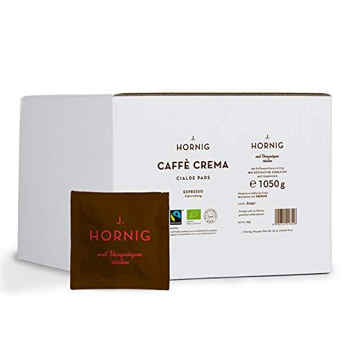 J. Hornig Cialde Espresso Pads, Caffè Crema, Kaffee mit kräftigem Aroma in Bio & Fair Trade Qualität, Mahlkaffee in ESE Kaffeepads, 150 Stück Großpackung