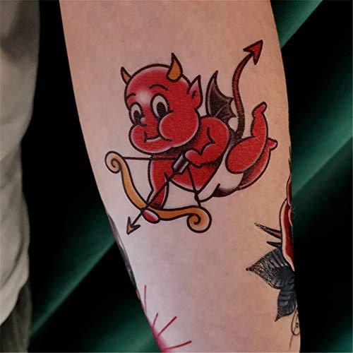 Cupid Kostüm Kinder - WSFST Wasserdichter Tattoo-Aufkleber Blume Arm Tattoo Sticker Devil Cupid Wasserdichter Tattoo Sticker 10-teiliges Tattoo Set